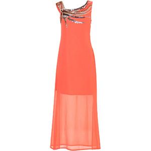 BODYFLIRT Kleid mit Pailletten ohne Ärmel in orange von bonprix