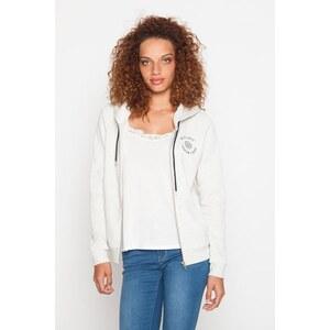 Sweat zippé brodé Blanc Polyester - Femme Taille 0 - Cache Cache