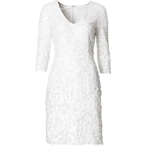 BODYFLIRT Paillettenkleid 3/4 Arm in weiß von bonprix