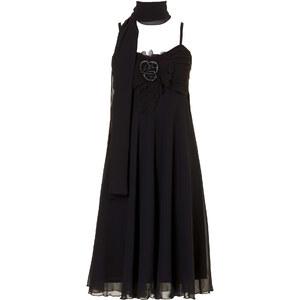 BODYFLIRT Kleid mit Schal ohne Ärmel in schwarz von bonprix
