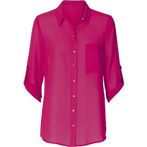 BODYFLIRT Bluse 3/4 Arm figurumspielend in pink von bonprix