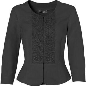 bpc selection Blazer mit Spitzenbesatz 3/4 Arm in schwarz für Damen von bonprix