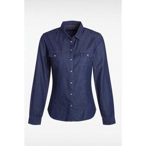 Chemise femme pois coupe cintrée Bleu Coton - Femme Taille L - Bonobo