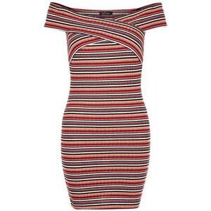 New Look Rotes, schulterfreies Minikleid mit Streifen und Überkreuz-Optik