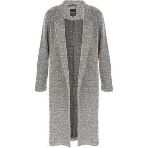 New Look Langer grauer Mantel mit Seitenschlitz