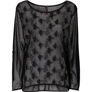 RAINBOW Netz-Shirt kurzer Arm figurumspielend in schwarz (Rundhals) für Damen von bonprix