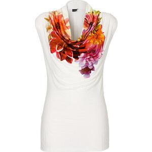 BODYFLIRT Longshirt ohne Ärmel in weiß (Wasserfall-Ausschnitt) für Damen von bonprix
