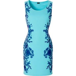 BODYFLIRT Kleid mit Blumenprint ohne Ärmel in blau von bonprix