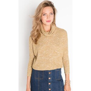 Pull manches longues col roulé Jaune Polyester - Femme Taille 0 - Cache Cache