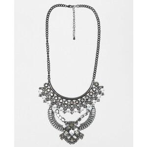 Collier plastron strass et perles gris argenté, Femme, Taille 00 -PIMKIE- MODE FEMME
