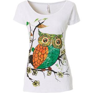 RAINBOW Shirt Eule kurzer Arm figurumspielend in weiß (Rundhals) für Damen von bonprix
