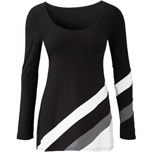 Tunika-Shirt langarm in schwarz für Damen von bonprix