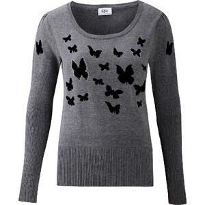 BODYFLIRT Pullover mit Druck langarm in grau für Damen von bonprix