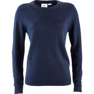 Pullover langarm figurumspielend in blau (Rundhals) für Damen von bonprix