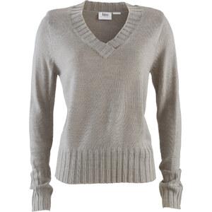 V-Pullover langarm figurumspielend in grau (V-Ausschnitt) für Damen von bonprix