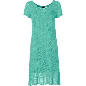 BODYFLIRT Strickkleid/Sommerkleid kurzer Arm in blau von bonprix