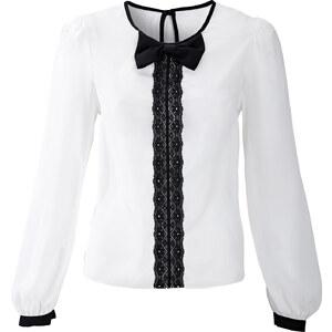 RAINBOW Bluse langarm figurbetont in weiß (Rundhals) von bonprix