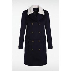 Manteau femme esprit officier col fourré Bleu Viscose - Femme Taille L - Bonobo