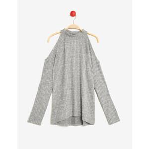 tee-shirt épaules ajourées gris chiné Jennyfer