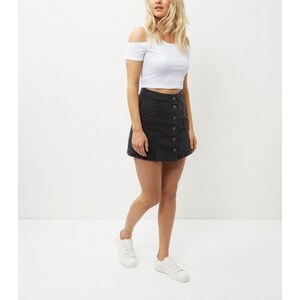 New Look Weißes, schulterfreies Crop Top, Petite