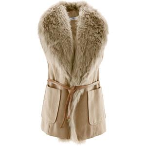 bpc bonprix collection Gilet sans manches avec imitation fourrure et ceinture beige femme - bonprix