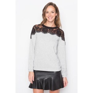 Sweat maille chinée dentelle Gris Polyamide - Femme Taille 0 - Cache Cache