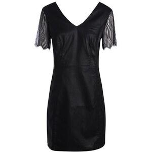 Robe enduite manches résille zip dos Noir Polyester - Femme Taille 38 - Bréal
