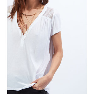 T-shirt col V empiècement dentelle Etam