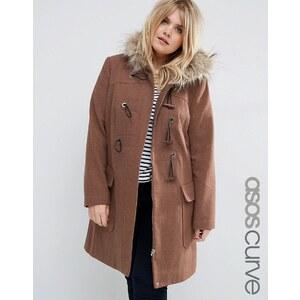 ASOS CURVE - Duffle-coat en laine mélangée avec capuche ornée de fausse fourrure - Rose