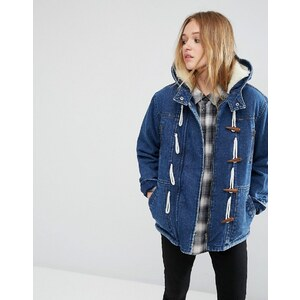 ASOS - Duffle-coat en jean avec fourrure synthétique - Bleu