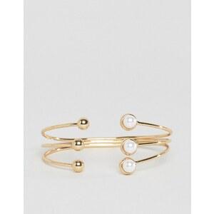 ASOS - Bracelet manchette ouvert avec boules et perles fantaisie - Crème