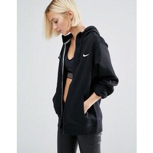 Nike - Sweat à capuche coupe boyfriend avec fermeture éclair - Noir