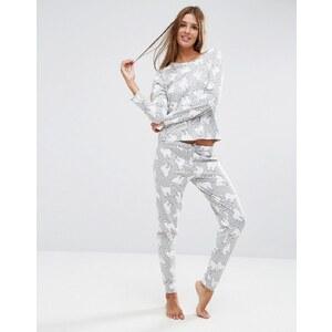 ASOS - Ensemble pyjama avec legging et t-shirt manches longues à imprimé lama - Multi