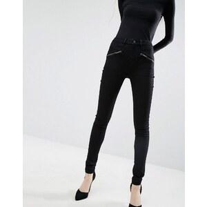 ASOS - SCULPT ME - Jean taille haute de qualité supérieure avec fermetures éclair - Noir pur - Noir