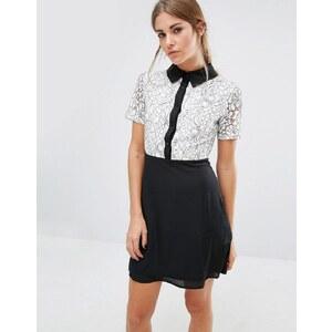Fashion Union - Robe droite avec corsage en dentelle et col contrastant - Noir