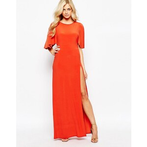 Love - Maxi robe kimono avec dos ouvert et cuisse fendue - Orange