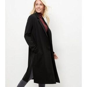 New Look Schwarzer, langer Mantel aus Kreppstoff