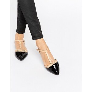 Daisy Street - Flache, spitze Schuhe in Schwarz mit T-Riemen - Mehrfarbig