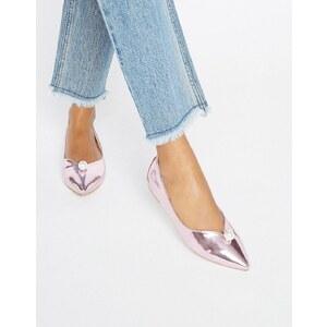 Daisy Street - Flache, glänzende Schuhe in Perlrosa - Rosa