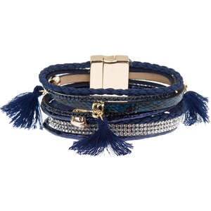 Morgan Bracelet tressé, multi-rangs - bleu