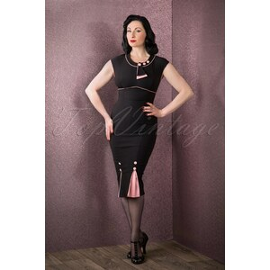 Stop Staring! 30s Bombshell Pencil Dress in Black and Pink