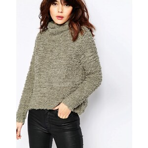 Story Of Lola Oversized Teddy Fluffy Knit Jumper With High Neck - Vert
