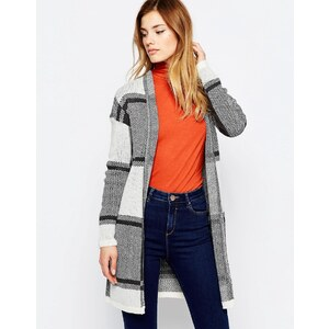 Only - Cardigan long en color block - Blanc