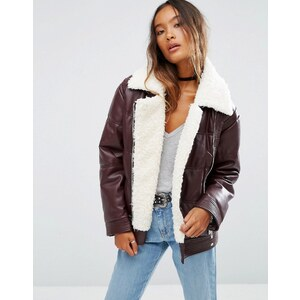 ASOS Leather Look Padded Jacket with Aviator Styling and Borg Liner - Rouge