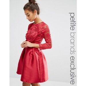 Little Mistress Petite - Robe courte avec jupe en satin et corsage volanté orné de dentelle - Rouge