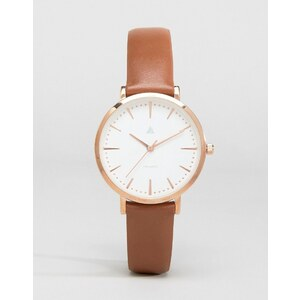 ASOS - Montre à grand cadran en cuir marron et or rose - Marron