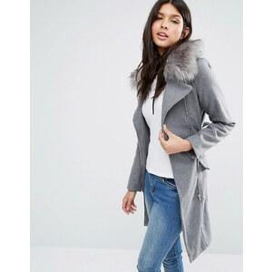 Brave Soul - Lang geschnittener Mantel mit Gürtel und Kunstfellbesatz - Grau