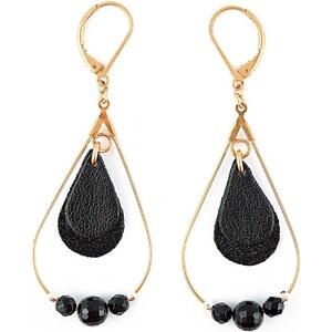 Ni une ni deux bijoux Créole Noir - Boucles d'oreilles en cuir - bicolore