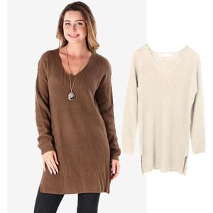 Lesara Pull long en tricot avec col en V