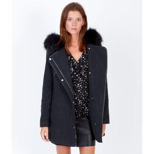 Manteau en laine à capuche, détails effet cuir Etam